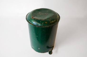 SOLD - 1930's Sanette Trash Can with Galvenized Bucket Liner