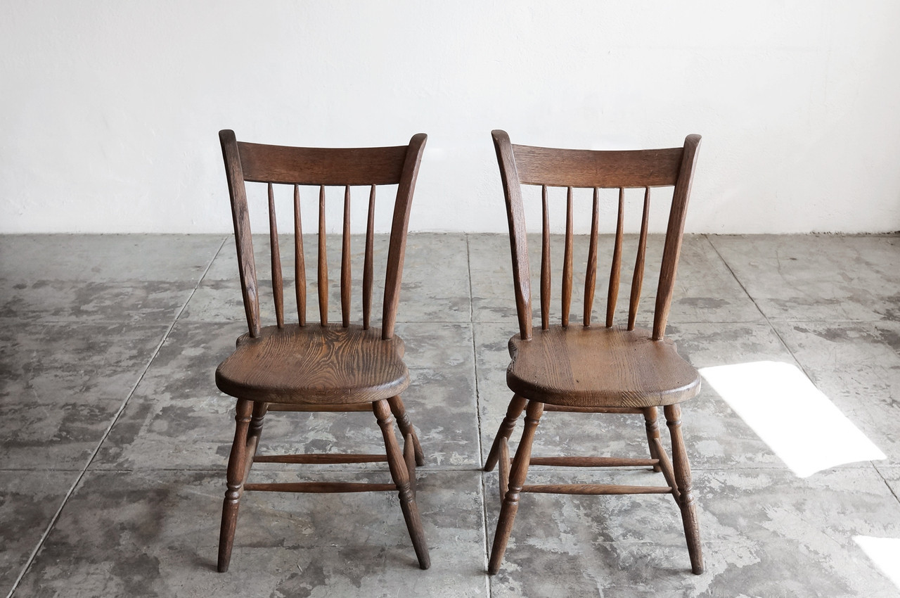 Beau SOLD   Pair Of Primitive Early American Spindle Side Chairs, Antique