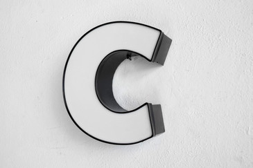 "SOLD - Vintage Channel Sign Letter ""C"" in White, Graphic Block Font"