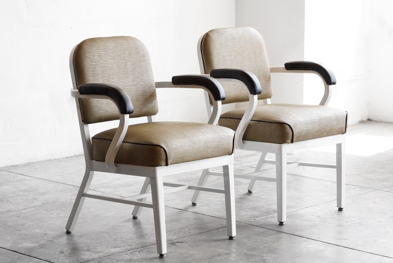 Sold Mid Century Steel Tanker Armchairs Refinished Rehab Vintage Interiors