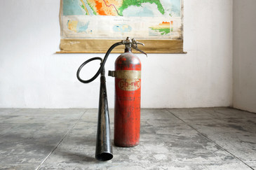 SOLD - C-O-TWO Fire Extinguisher with Large Horn Nozzle, c.1940s