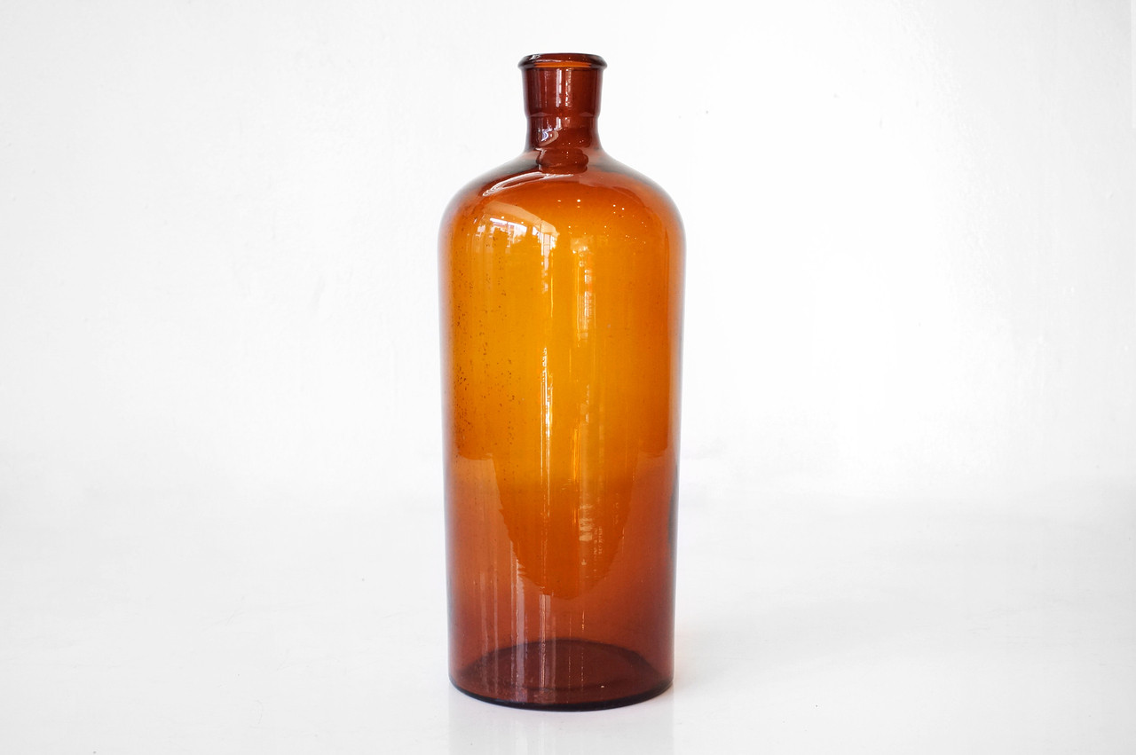 SOLD - Old Large Glass Bottle, Amber Colored, Weathered