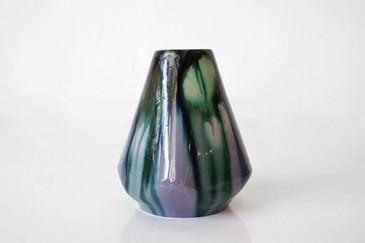 SOLD - Vintage Ceramic Vase, Geo Shape with Drip Glaze, Signed
