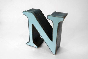 "Vintage Channel Sign Letter ""N"" in Mint Blue"