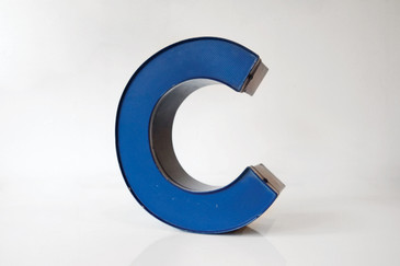 "SOLD - Vintage Channel Sign Letter, ""C"" in Blue with Perforated Face"