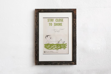 SOLD - Stay Close to Shore - Mid Century PSA Poster, Framed