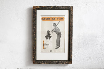 SOLD - Alert at Play- Mid Century PSA Poster, Framed