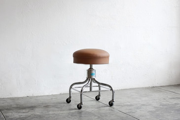 SOLD - Vintage Chrome Medical Stool by Pedigo, Reupholstered
