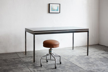 SOLD - 1970s Steel Tanker Table with Single Drawer, Refinished