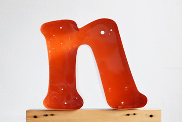 "SOLD - Refinished Vintage Metal Letter ""n"" in Tangerine Orange"