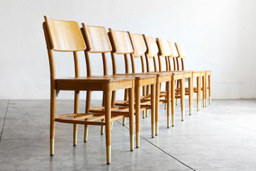 SOLD - Set of 8 Bentwood School Chairs by Thonet, 1950s