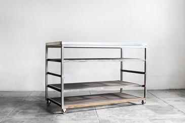 Custom Steel Rolling Rack with Expanded Metal Shelves