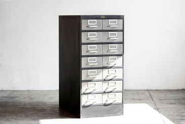 SOLD - Vintage Steel Library Catalog Filing Cabinet, Refinished