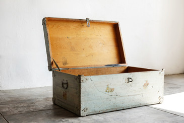 SOLD - 1950s Vintage American Wood Trunk with Cowboy Motif