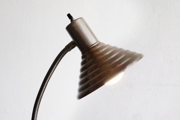 SOLD - Vintage Steel Gooseneck Floor Lamp