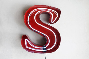 "SOLD - Large Vintage Neon Channel Letter ""S"" Refinished"