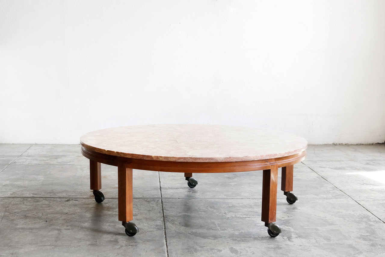 Sold Vintage Pink Marble And Walnut Round Coffee Table Rehab Vintage Interiors