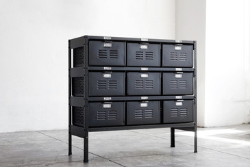 3 x 3 Vintage Locker Basket Unit, Refinished in Matte Black