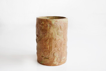SOLD - Vintage Ceramic Cylinder Vase with Geometric Design