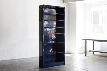 Tall Steel Tanker Bookcase  in Midnight Blue, Custom Refinished to Order