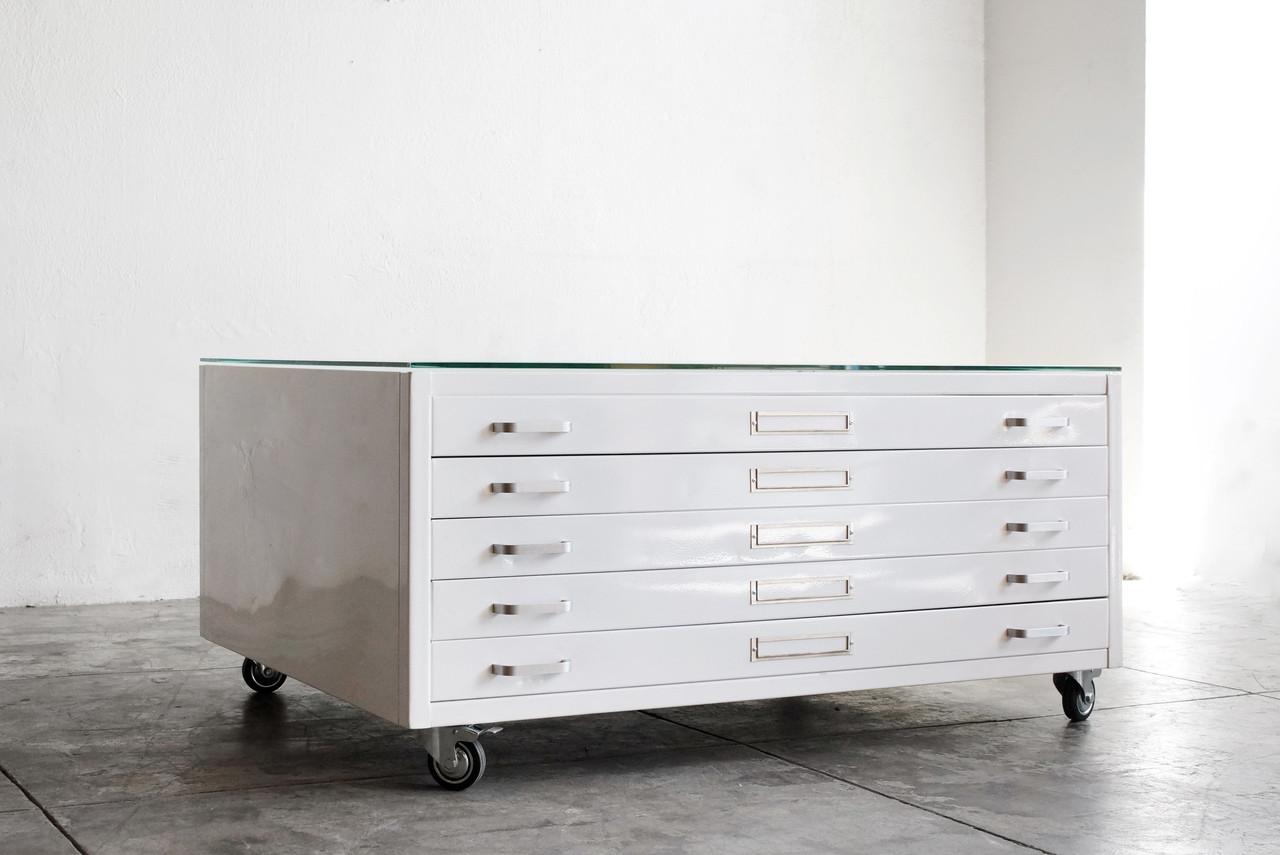 Flat File Coffee Table In Gloss White, Size Medium   CUSTOM ORDER