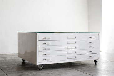 Flat File Coffee Table Custom Refinished in Gloss White and Glass