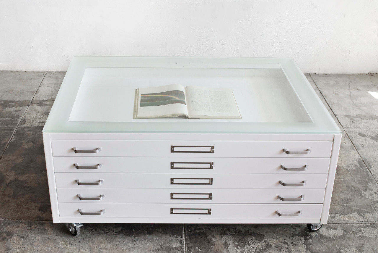 - Flat File Coffee Table Custom Refinished In Gloss White And Glass