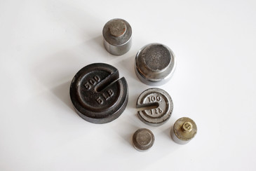 SOLD - Lot of 6 Antique Cast Iron and Brass Weights, c. 1920s