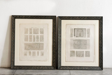 SOLD - Pair of Large Egyptian Themed Book Plates, Framed