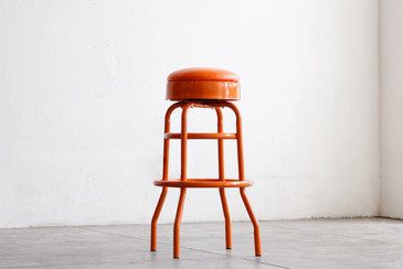 SOLD - 1950s Diner Stool Refinished in Tangerine Orange