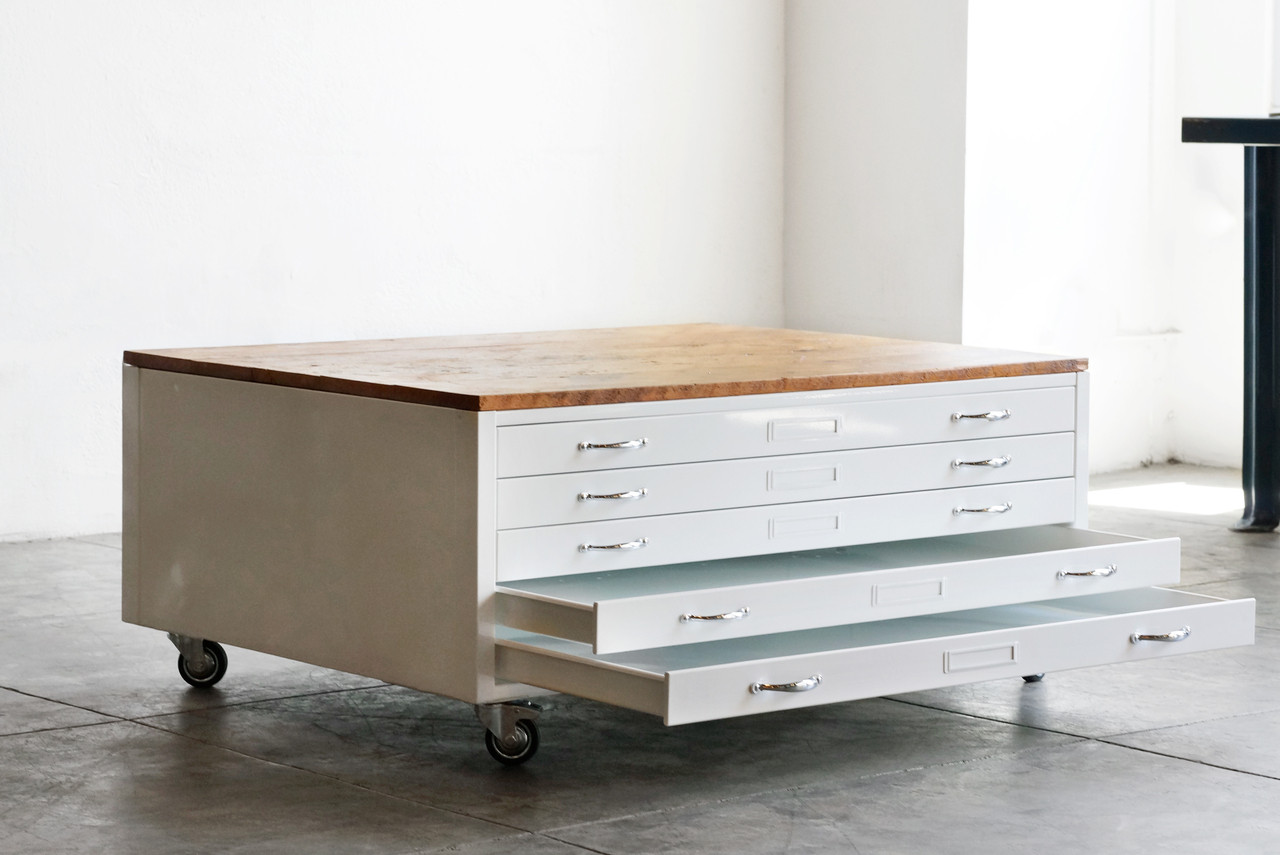 High Quality Flat File Coffee Table In Gloss White With Reclaimed Wood   CUSTOM ORDER