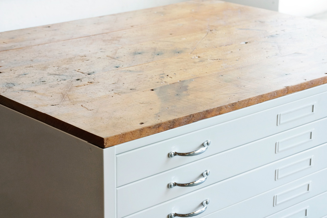 - Flat File Coffee Table, Custom Refinished In Gloss White And