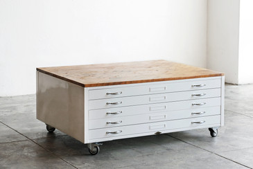 Flat File Coffee Table, Custom Refinished in Gloss White and Reclaimed Wood