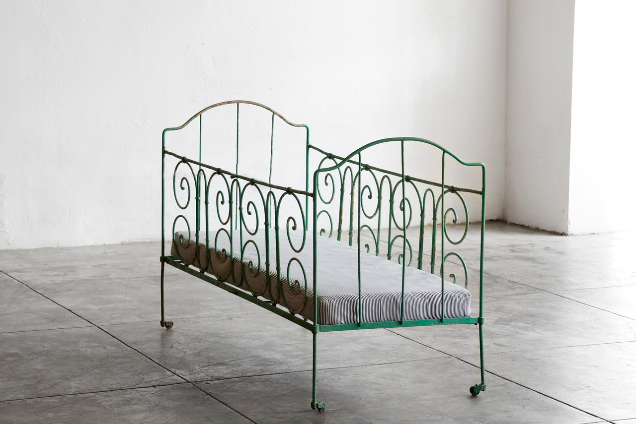 SOLD   Antique French Wrought Iron Baby Crib   Rehab Vintage Interiors