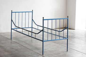 SOLD - Vintage Industrial Steel Bed Frame, 1920s