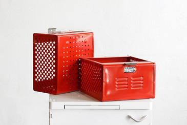 1950s Reclaimed Locker Basket Refinished in Fire Engine Red, Free Shipping