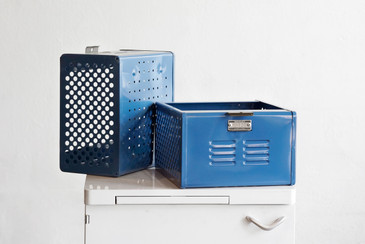 1950s Reclaimed Locker Basket Refinished in Moon Blue, Free Shipping