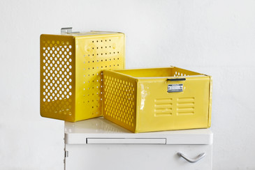 SOLD - 1950s Reclaimed Locker Basket Refinished in Mellow Yellow, Free Shipping