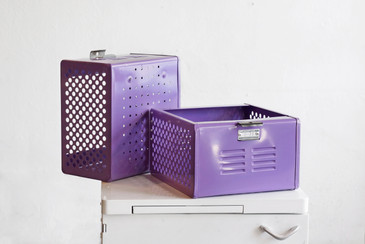 1950s Reclaimed Locker Basket Refinished in Lilac, Free Shipping