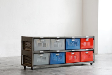 4 x 2 Vintage Locker Basket Unit on Casters in Multicolors