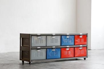 4 x 2 Vintage Locker Basket Unit on Casters in Multicolors
