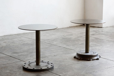 SOLD - Pair of Industrial Side Tables, Cast Iron Bases