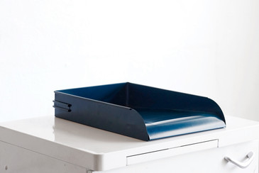 SOLD - Vintage Office Letter Tray Refinished in Matte Teal