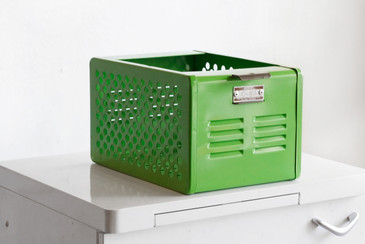 SOLD - LTD EDITION 1950s Mini Locker Basket Refinished in Lime
