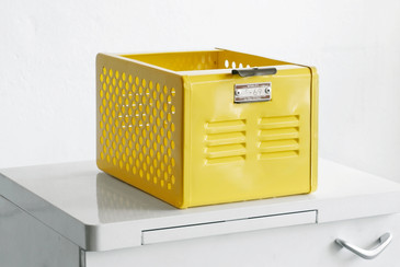 SOLD - LTD EDITION 1950s Mini Locker Basket Refinished in Yellow