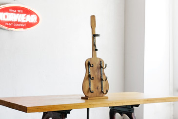 SOLD - Guitar Wine Rack, Handmade of Alder and Steel