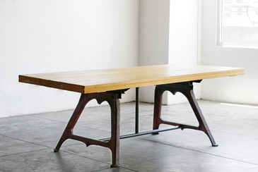 SOLD - Dining Table Antique Bases/ Maple Bowling Lane