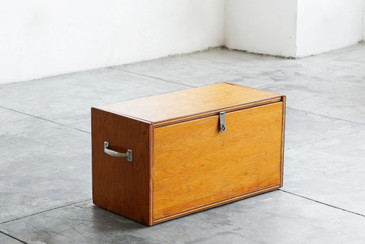 SOLD - Vintage Wooden Trunk with Steel Handles, Handmade