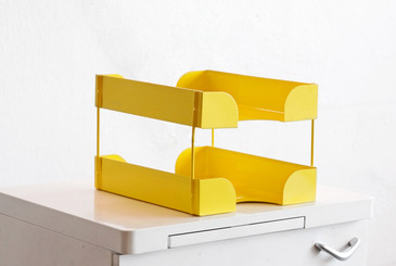 SOLD - Mid Century Double Tier Paper Tray, Refinished in Yellow