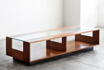 SOLD - Large Brown Saltman Display/ Coffee Table